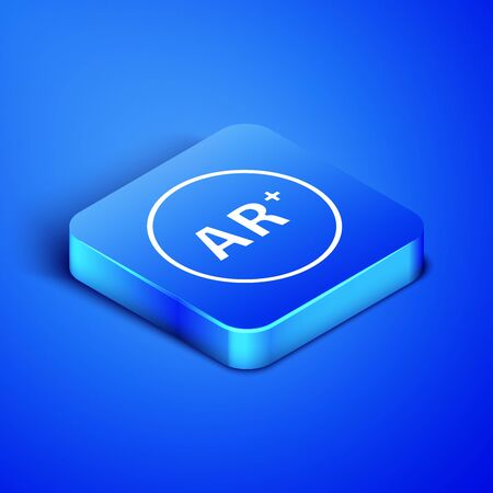 Isometric Ar, augmented reality icon isolated on blue background. Blue square button. Vector Illustration 일러스트