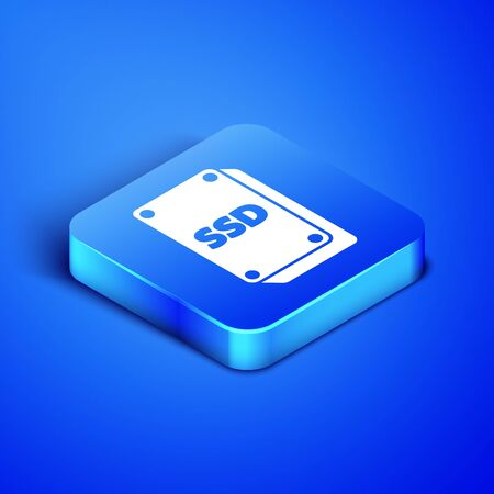 Isometric SSD card icon isolated on blue background. Solid state drive sign. Storage disk symbol. Blue square button. Vector Illustration