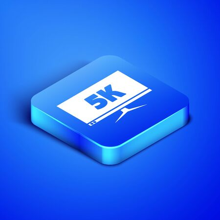Isometric Computer PC monitor display with 5k video technology icon isolated on blue background. Blue square button. Vector Illustration