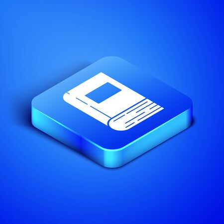 Isometric Book icon isolated on blue background. Blue square button. Vector Illustration