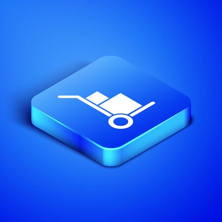 Isometric Hand truck and boxes icon isolated on blue background. Dolly symbol. Blue square button. Vector Illustration Stock Vector - 133408511