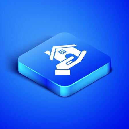 Isometric Realtor icon isolated on blue background. Buying house. Blue square button. Vector Illustration