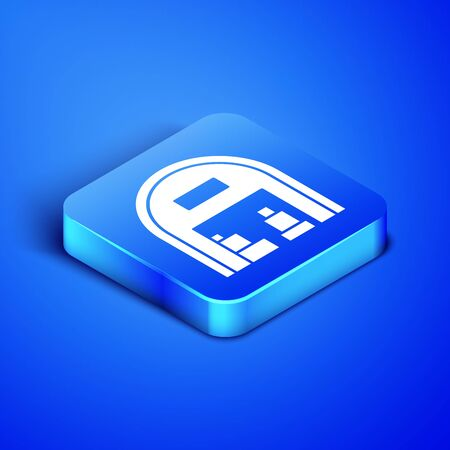 Isometric Warehouse icon isolated on blue background. Blue square button. Vector Illustration Stock Vector - 133408518
