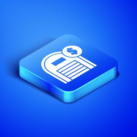 Isometric Warehouse with dollar symbol icon isolated on blue background. Real estate concept. Blue square button. Vector Illustration