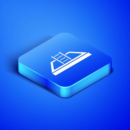 Isometric Swimming pool with ladder icon isolated on blue background. Blue square button. Vector Illustration Standard-Bild - 133408564
