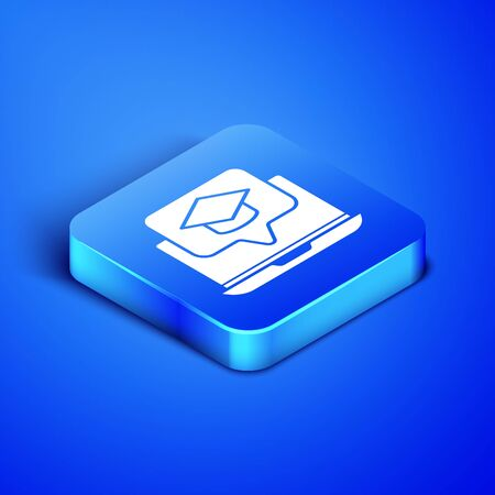 Isometric Graduation cap on screen laptop icon isolated on blue background. Online learning or e-learning concept. Blue square button. Vector Illustration  イラスト・ベクター素材