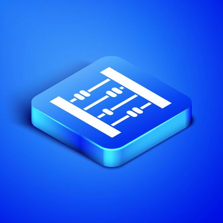 Isometric Abacus icon isolated on blue background. Traditional counting frame. Education sign. Mathematics school. Blue square button. Vector Illustration