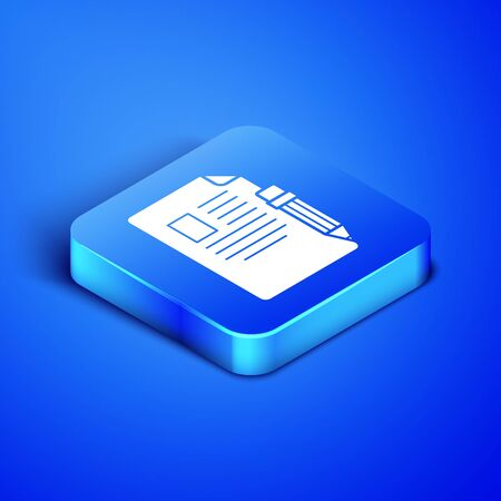 Isometric Exam sheet and pencil with eraser icon isolated on blue background. Test paper, exam, or survey concept. School test or exam. Blue square button. Vector Illustration Illusztráció