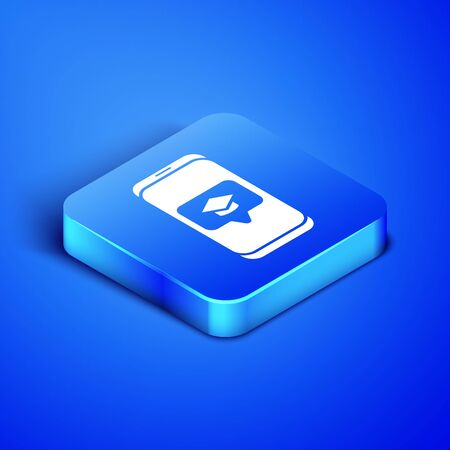 Isometric Graduation cap on screen smartphone icon isolated on blue background. Online learning or e-learning concept. Blue square button. Vector Illustration