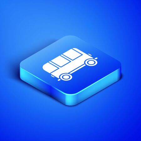 Isometric School Bus icon isolated on blue background. Blue square button. Vector Illustration