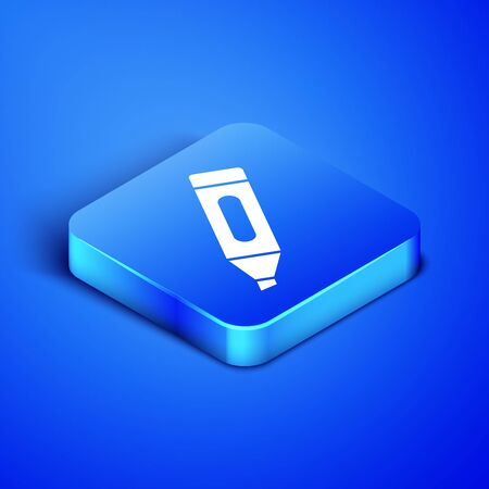 Isometric Marker pen icon isolated on blue background. Blue square button. Vector Illustration