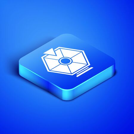 Isometric Lucky wheel icon isolated on blue background. Blue square button. Vector Illustration