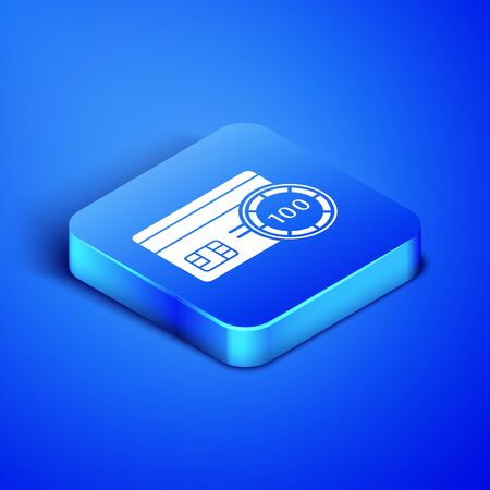 Isometric Credit card icon isolated on blue background. Online payment. Cash withdrawal. Financial operations. Shopping sign. Blue square button. Vector Illustration Иллюстрация