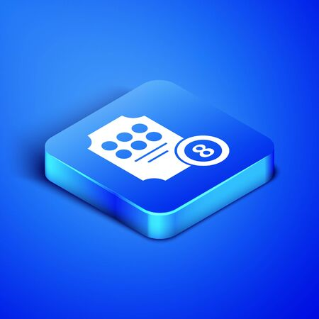 Isometric Online slot machine icon isolated on blue background. Online casino. Blue square button. Vector Illustration