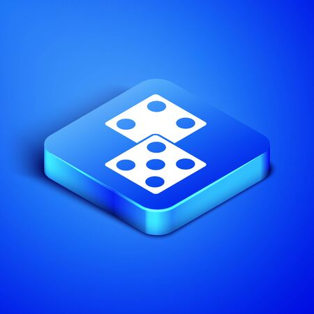 Isometric Game dice icon isolated on blue background. Casino gambling. Blue square button. Vector Illustration Çizim