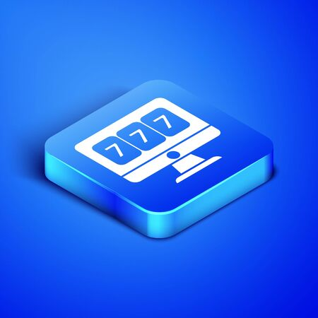 Isometric Online slot machine with lucky sevens jackpot icon isolated on blue background. Online casino. Blue square button. Vector Illustration Illustration