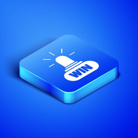 Isometric Casino win icon isolated on blue background. Blue square button. Vector Illustration Illustration