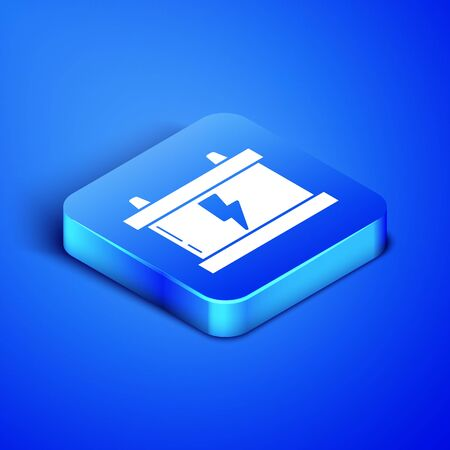 Isometric Car battery icon isolated on blue background. Accumulator battery energy power and electricity accumulator battery. Lightning bolt. Blue square button. Vector Illustration
