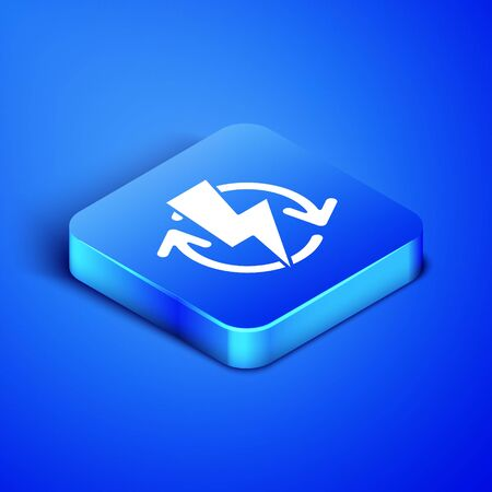 Isometric Recharging icon isolated on blue background. Electric energy sign. Blue square button. Vector Illustration