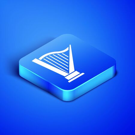 Isometric Harp icon isolated on blue background. Classical music instrument, orhestra string acoustic element. Blue square button. Vector Illustration Фото со стока - 133408643