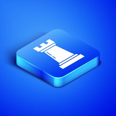 Isometric Business strategy icon isolated on blue background. Chess symbol. Game, management, finance. Blue square button. Vector Illustration