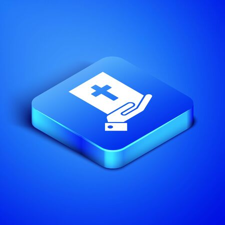 Isometric Oath on the Holy Bible icon isolated on blue background. The procedure in court. Truth and truth. Promise before god. Blue square button. Vector Illustration