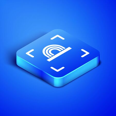 Isometric Fingerprint icon isolated on blue background. ID app icon. Identification sign. Touch id. Blue square button. Vector Illustration Illustration