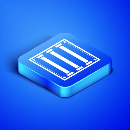 Isometric Prison window icon isolated on blue background. Blue square button. Vector Illustration Illustration