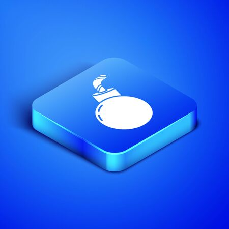 Isometric Bomb ready to explode icon isolated on blue background. Happy Halloween party. Blue square button. Vector Illustration