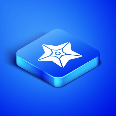 Isometric Christmas star icon isolated on blue background. Merry Christmas and Happy New Year. Blue square button. Vector Illustration Foto de archivo - 133407908
