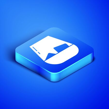 Isometric Glass of whiskey and ice cubes icon isolated on blue background. Blue square button. Vector Illustration