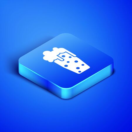 Isometric Glass of beer icon isolated on blue background. Blue square button. Vector Illustration