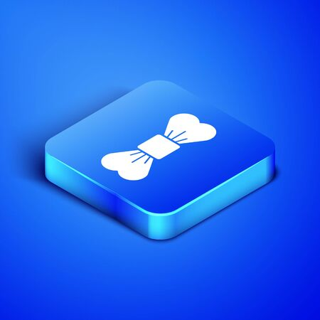 Isometric Bow tie icon isolated on blue background. Blue square button. Vector Illustration