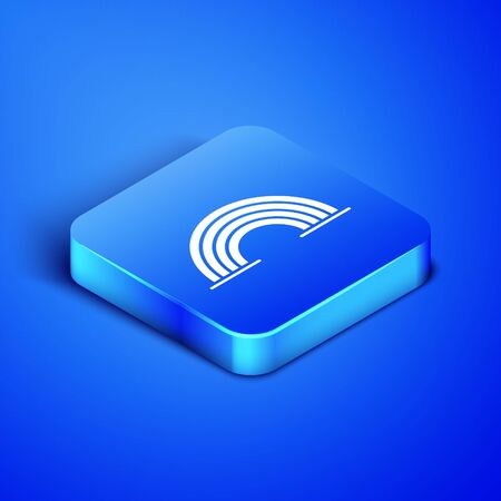 Isometric Rainbow with clouds icon isolated on blue background. Blue square button. Vector Illustration