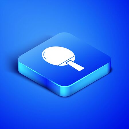 Isometric Racket for playing table tennis icon isolated on blue background. Blue square button. Vector Illustration