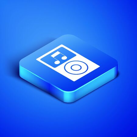 Isometric Music player icon isolated on blue background. Portable music device. Blue square button. Vector Illustration Фото со стока - 133407953