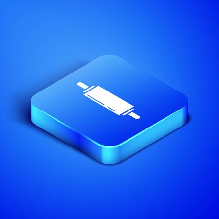 Isometric Rolling pin icon isolated on blue background. Blue square button. Vector Illustration