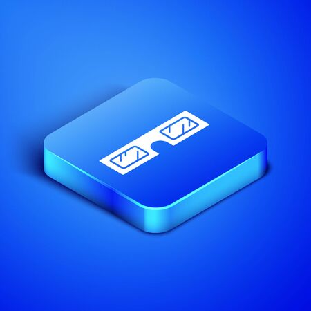 Icône de lunettes de cinéma 3D isométrique isolé sur fond bleu. Bouton carré bleu. Illustration vectorielle Vecteurs