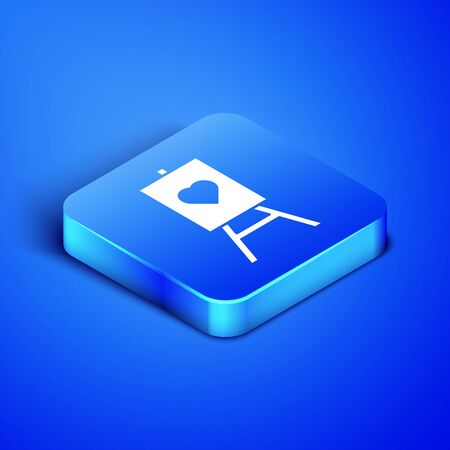 Isometric Wood easel or painting art boards with heart icon isolated on blue background. Blue square button. Vector Illustration Standard-Bild - 133407858