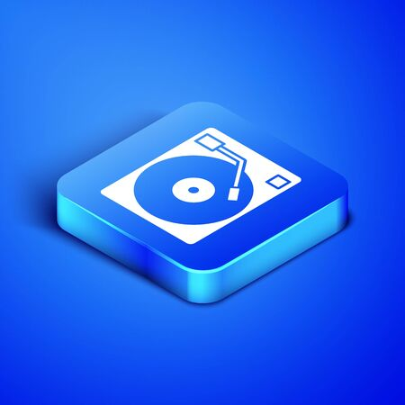 Isometric Vinyl player with a vinyl disk icon isolated on blue background. Blue square button. Vector Illustration