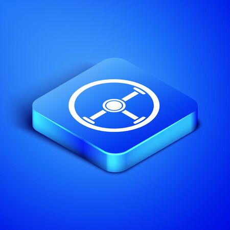Isometric Steering wheel icon isolated on blue background. Car wheel icon. Blue square button. Vector Illustration Illustration