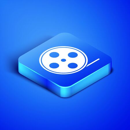 Isometric Film reel icon isolated on blue background. Blue square button. Vector Illustration