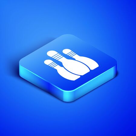 Isometric Bowling pin icon isolated on blue background. Blue square button. Vector Illustration Ilustração