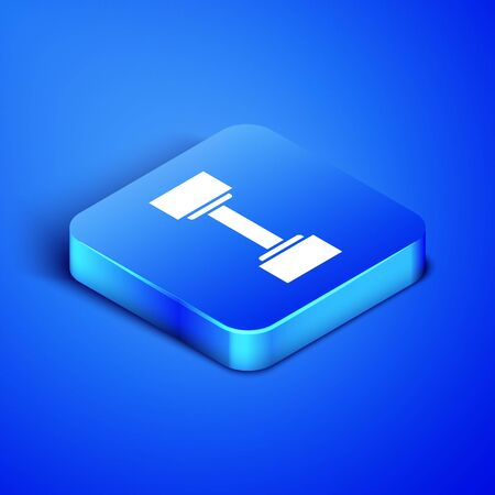 Isometric Dumbbell icon isolated on blue background. Muscle lifting icon, fitness barbell, gym icon, sports equipment symbol, exercise bumbbell. Blue square button. Vector Illustration Standard-Bild - 133407872