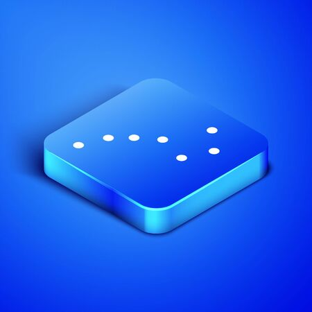 Isometric Great Bear constellation icon isolated on blue background. Blue square button. Vector Illustration