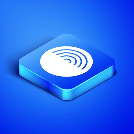 Isometric Earth structure icon isolated on blue background. Geophysics concept with earth core and section layers earth. Blue square button. Vector Illustration