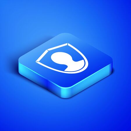 Isometric User protection icon isolated on blue background. Secure user login, password protected, personal data protection, authentication. Blue square button. Vector Illustration