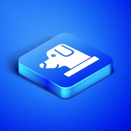 Isometric Dog in astronaut helmet icon isolated on blue background. Blue square button. Vector Illustration