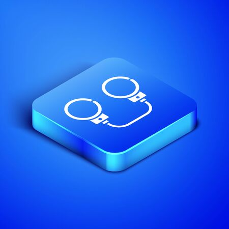 Isometric Handcuffs icon isolated on blue background. Blue square button. Vector Illustration
