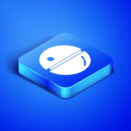 Isometric Death star icon isolated on blue background. Blue square button. Vector Illustration
